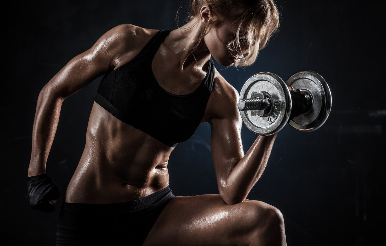 Photo wallpaper woman, exercise, pose, fitness, perspiration