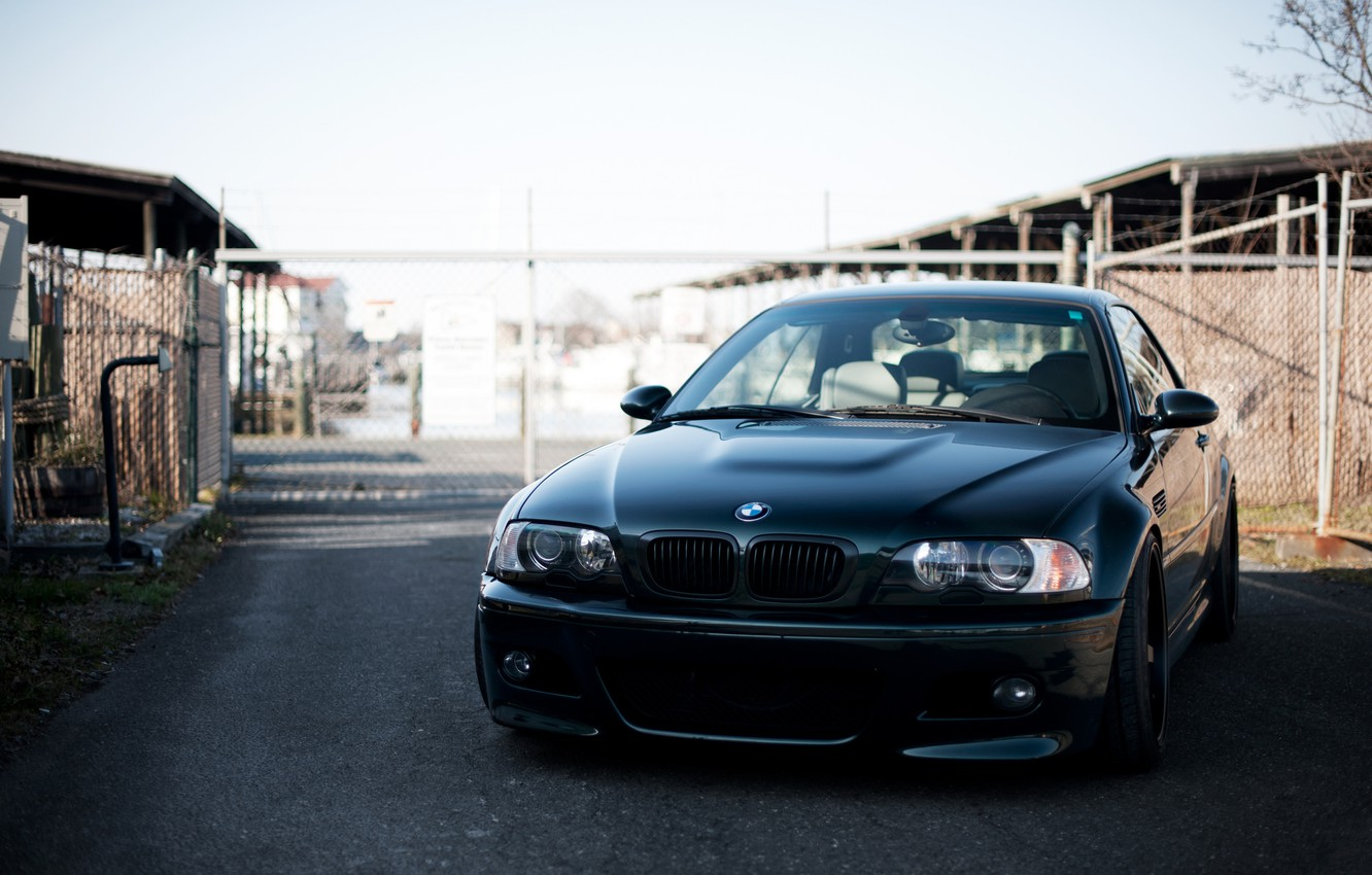 Photo wallpaper the sky, black, bmw, BMW, the fence, black, the front, e46