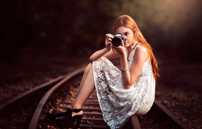 Photo wallpaper girl, camera, Canon