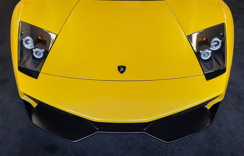 Photo wallpaper Lamborghini, yellow, Lamborghini, yellow, Murcielago, front, murciélago