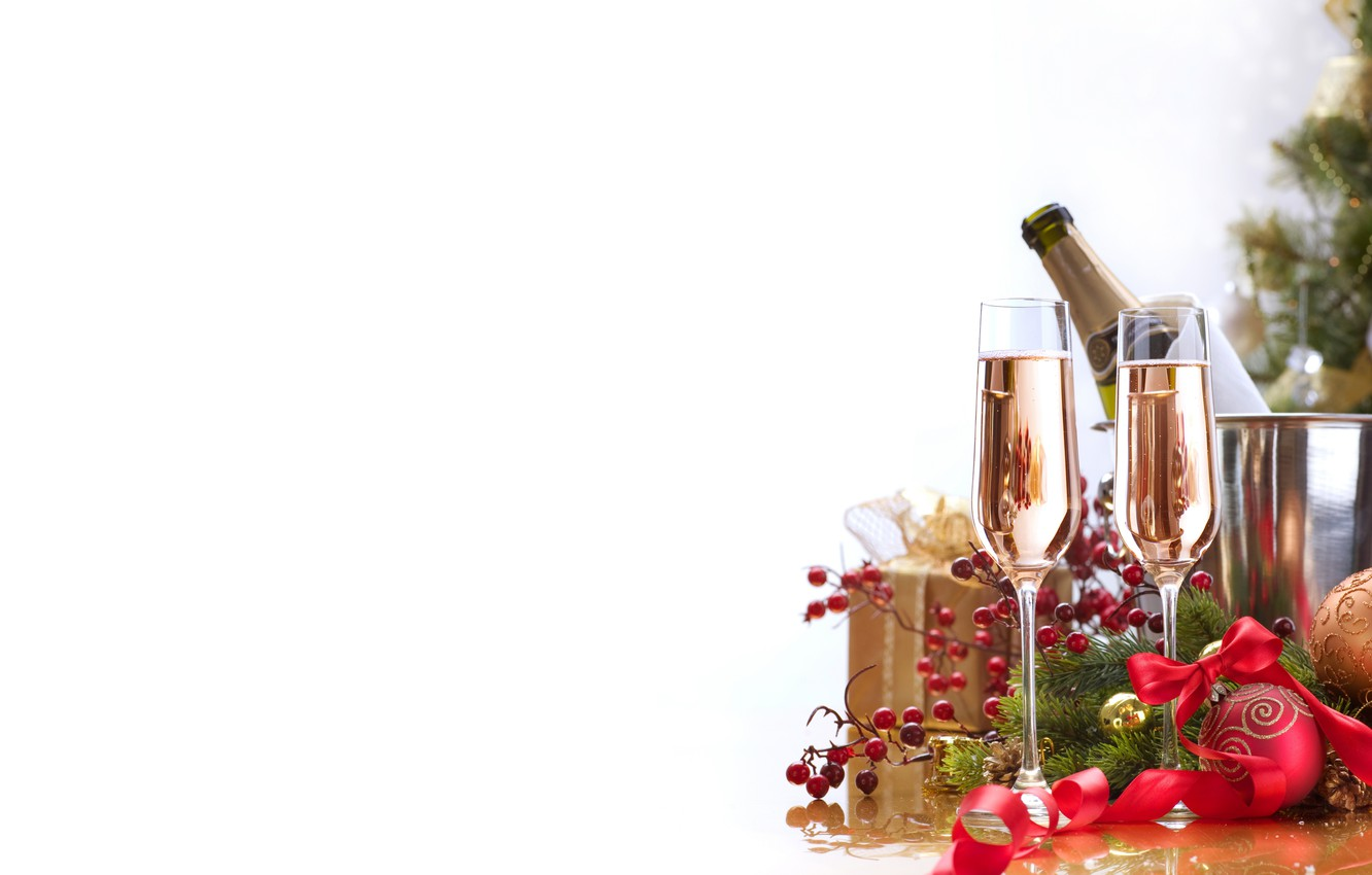 Photo wallpaper berries, box, gift, balls, new year, Christmas, glasses, tape, drink, the scenery, champagne, bow, holidays, …