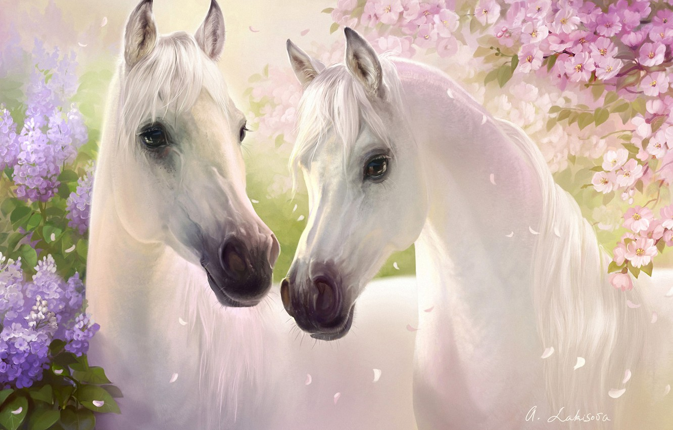 Photo wallpaper flowers, cherry, horses, spring, petals, art, pair, white, lilac