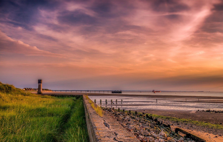 Photo wallpaper sea, sunset, coast, England, ships, horizon, braid, Spurn Head