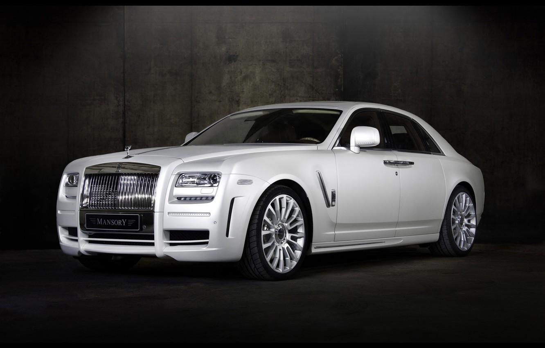 Photo wallpaper car, white, mansory, ghost, Royce, Rolls