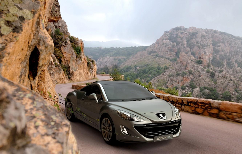 Photo wallpaper road, Peugeot, peugeot 308 rcz горы