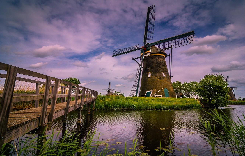 Photo wallpaper bridge, river, channel, Netherlands, windmill, Kinderdijk, Kinderdijk