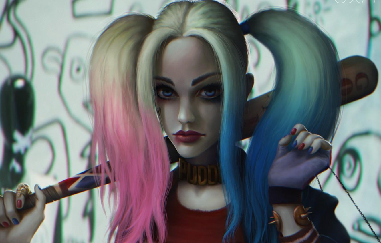 Photo wallpaper girl, batman, villain, dc comics, harley quinn, Suicide Squad