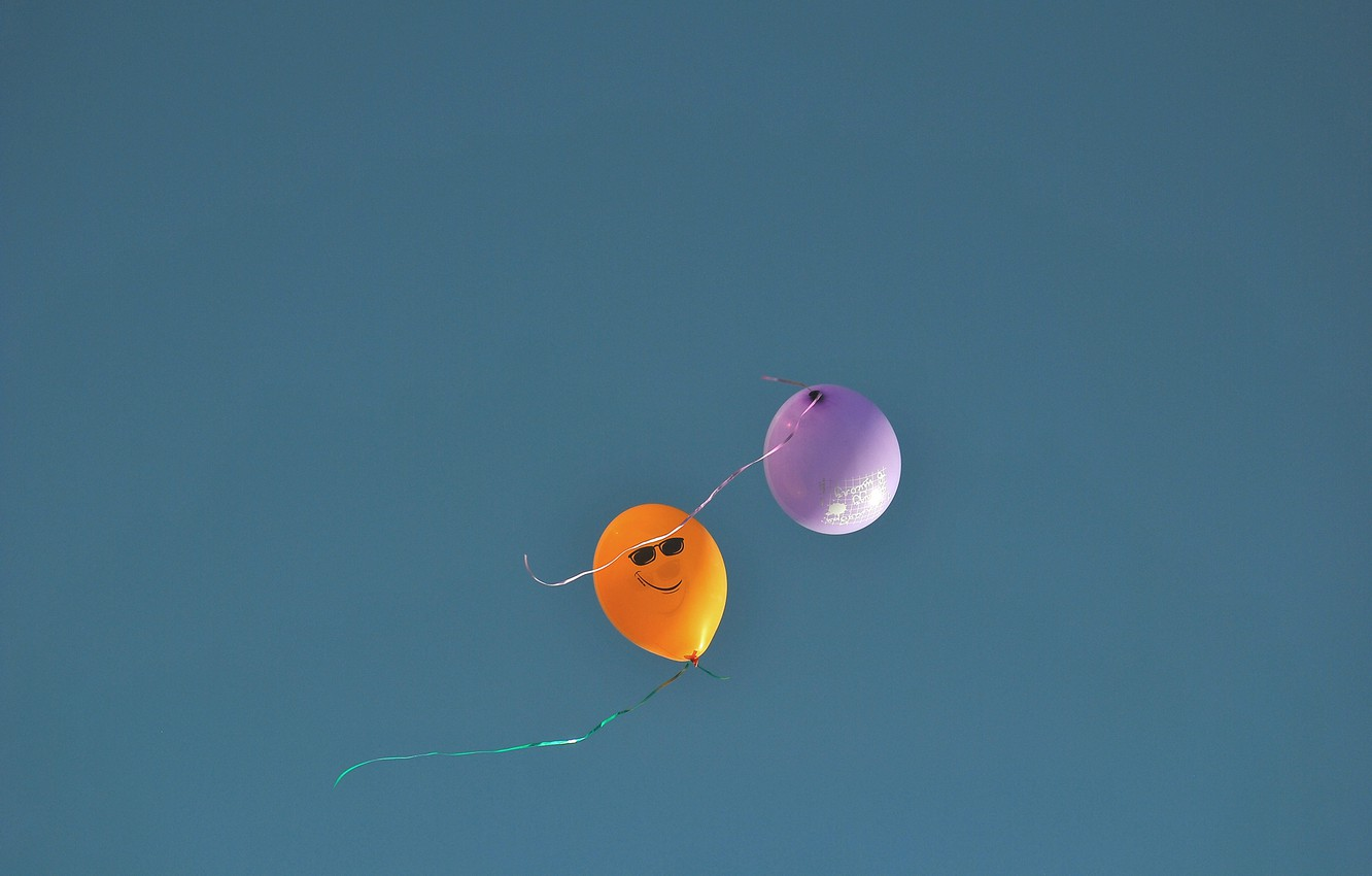 Photo wallpaper the sky, smile, figure, glasses, colorful, balloons, ribbons