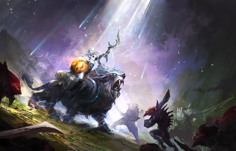 Photo wallpaper hero, battle, art, Dota 2, Luna, moba, Moon Rider