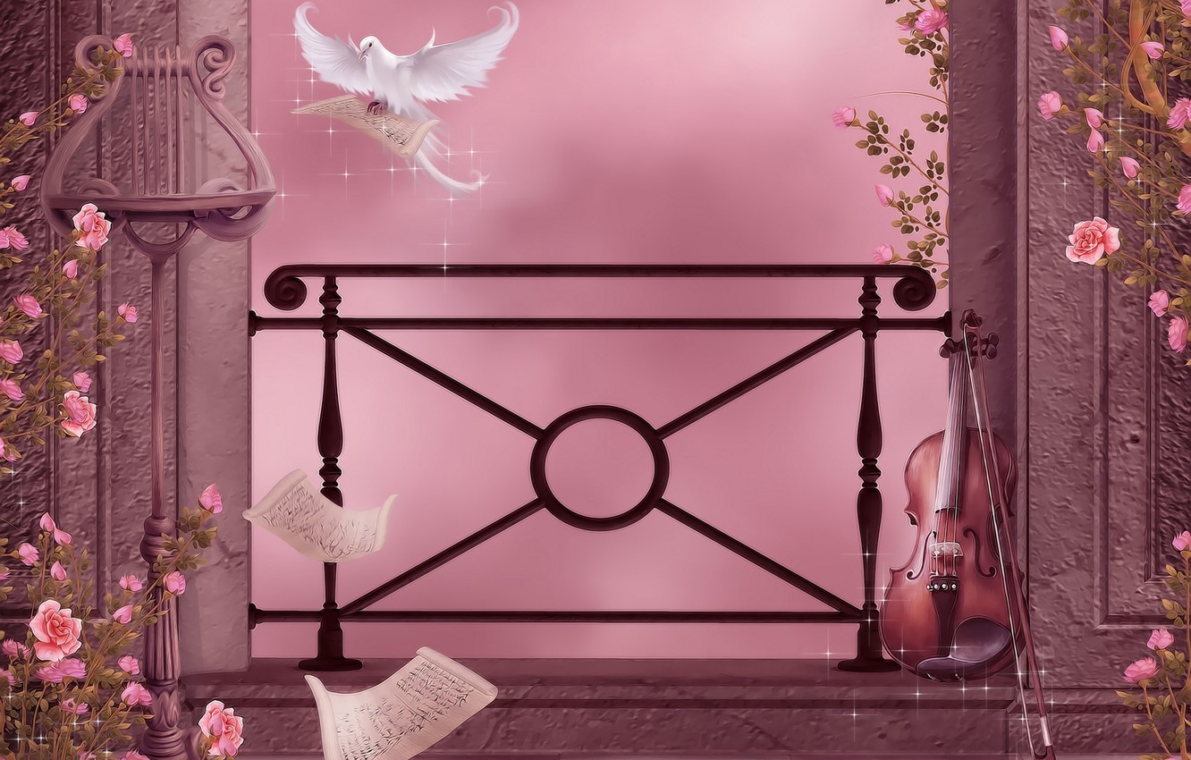 Photo wallpaper flowers, notes, music, violin, dove, roses, music, columns, garland, flowers, violin, dove, roses, pigeon, columns, …