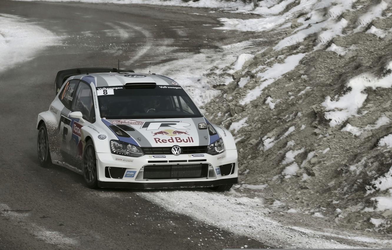 Photo wallpaper Winter, Volkswagen, Race, The hood, WRC, Rally, The front, Polo, Sebastien Ogier, Julien Ingrassia