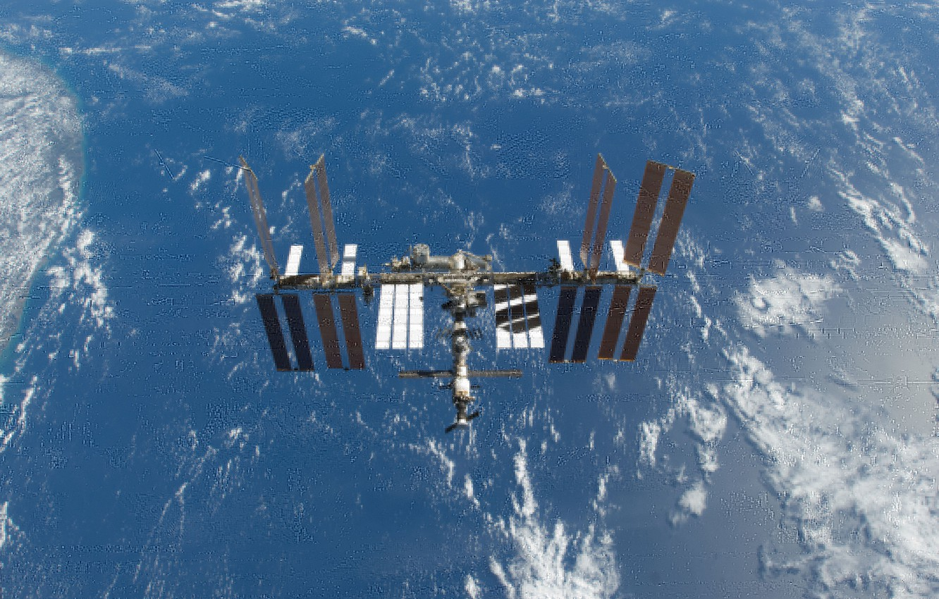 Photo wallpaper space, satellite, ISS