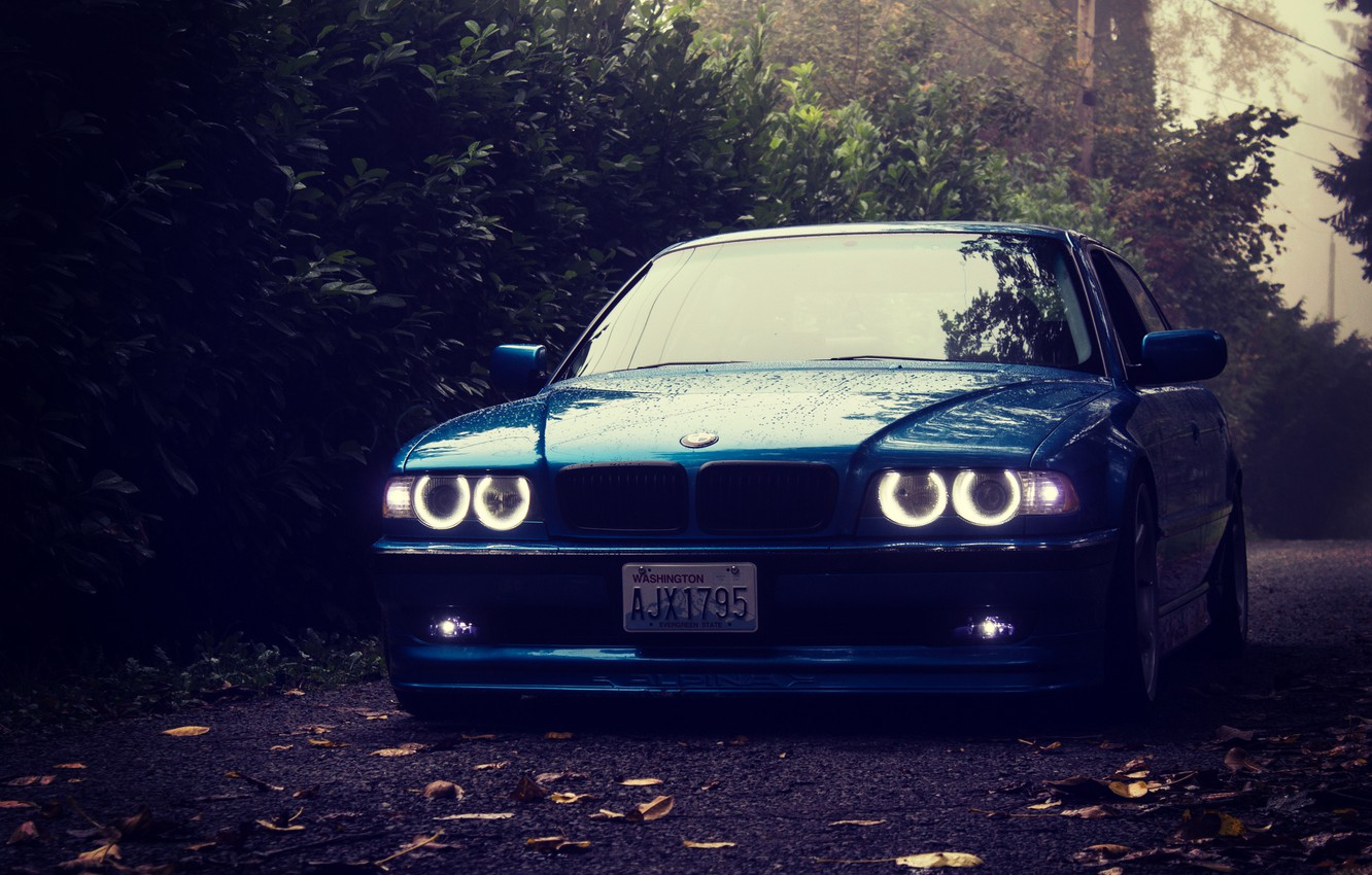 Photo wallpaper forest, lights, tuning, BMW, stance, bmw e38, 750il