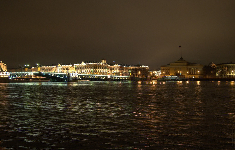 Photo wallpaper Bridge, Night, Peter, Saint Petersburg