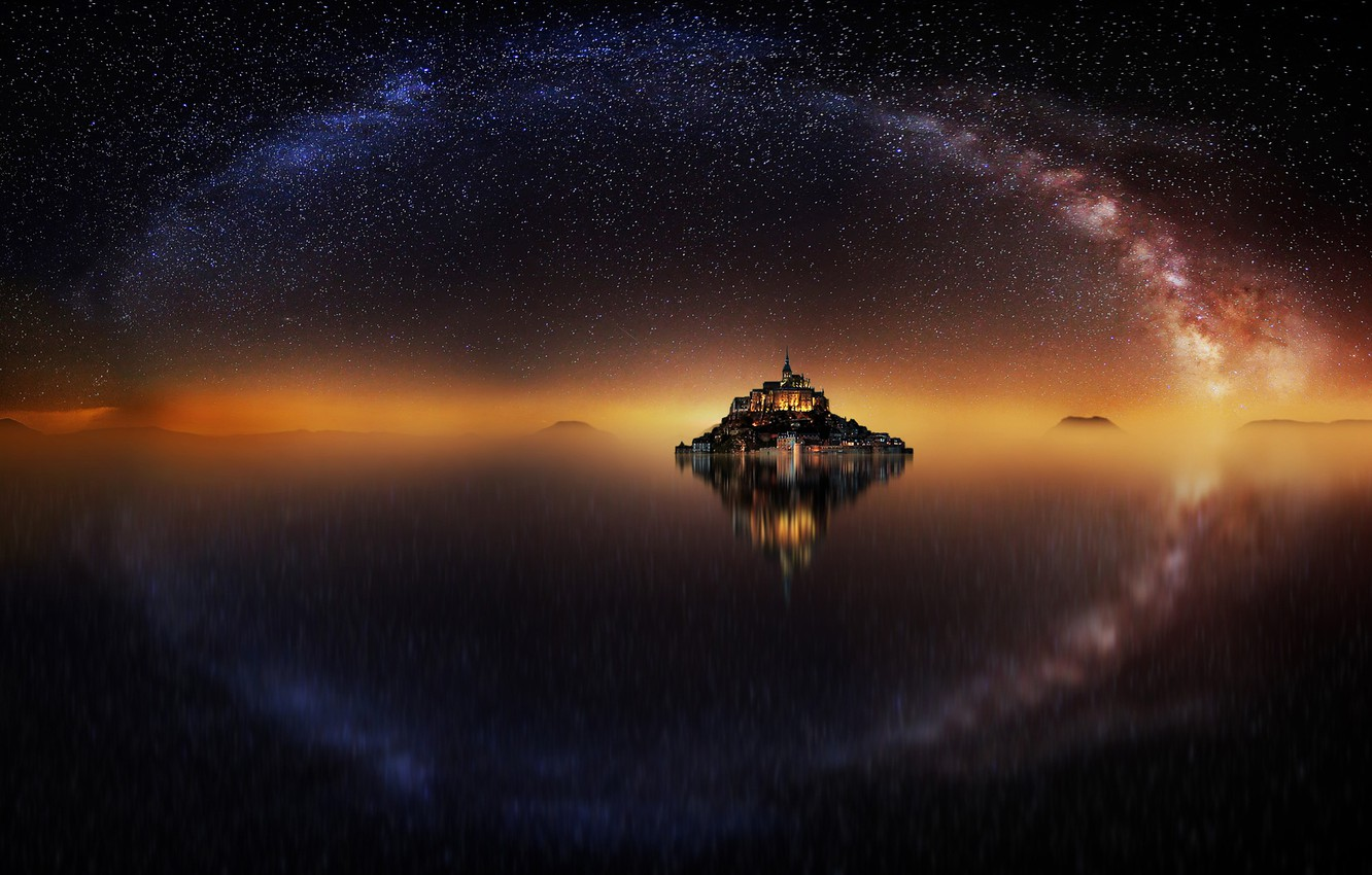 Photo wallpaper the sky, water, stars, reflection, night, France, island, fortress, the milky way, Mont-Saint-Michel, the mountain …