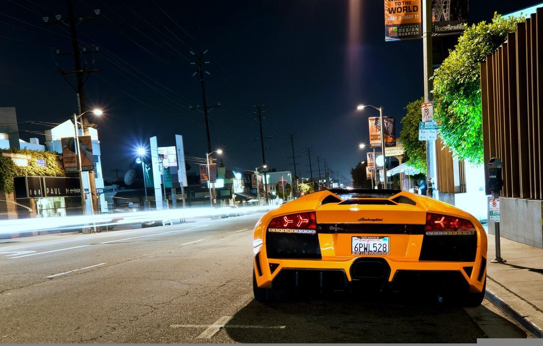 Photo wallpaper night, street, lamborghini, murcielago, roadster