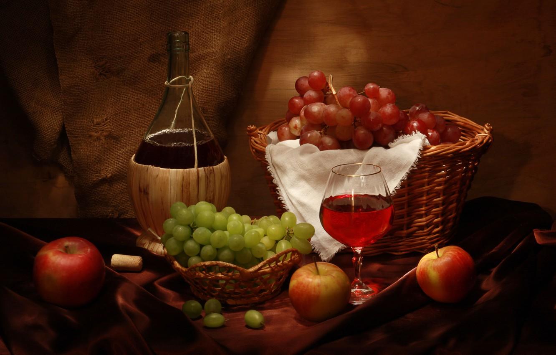 Photo wallpaper wine, basket, apples, glass, bottle, grapes, tube, still life, wine