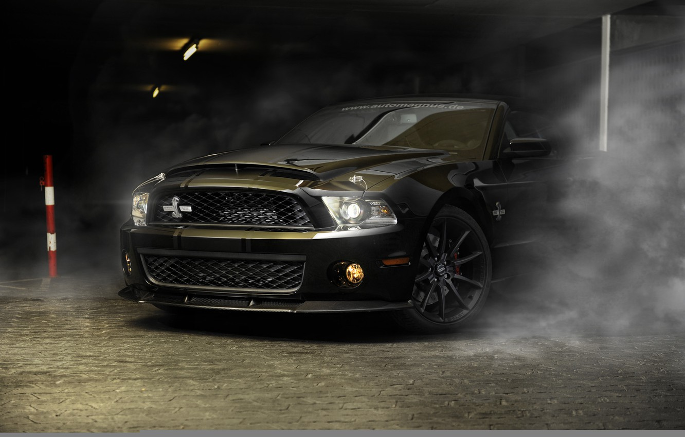 Photo wallpaper car, auto, strip, black, smoke, Ford, mustang, Mustang, Cobra, sports car, sportcar, shelby, Shelby, gt500