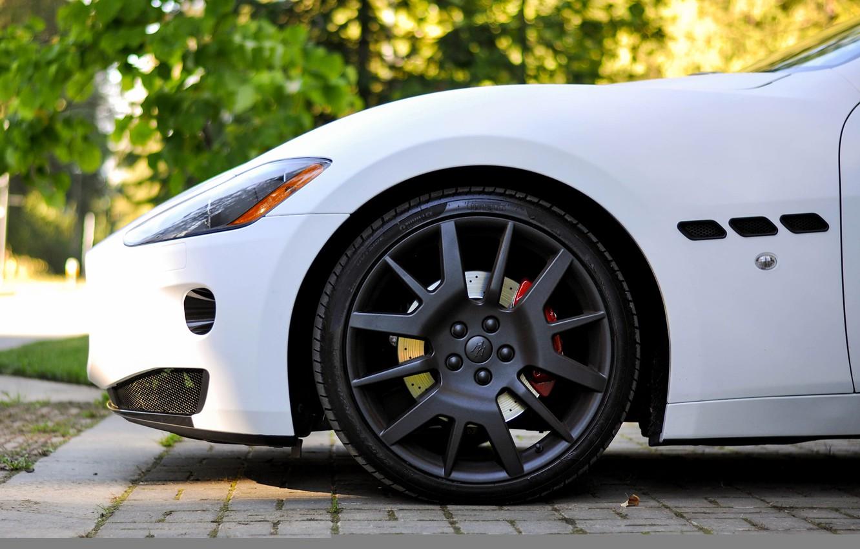 Photo wallpaper white, Maserati, wheel, Matt, disk, granturismo, wheel, whitem matt, rim. Maserati