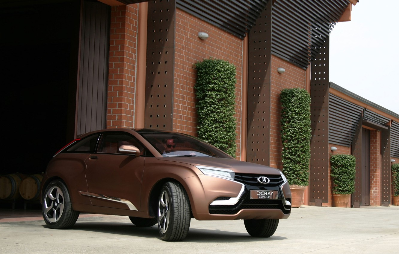Photo wallpaper Concept, garage, the concept, X-Ray, brown, Lada, the bushes, the front, Lada, crossover