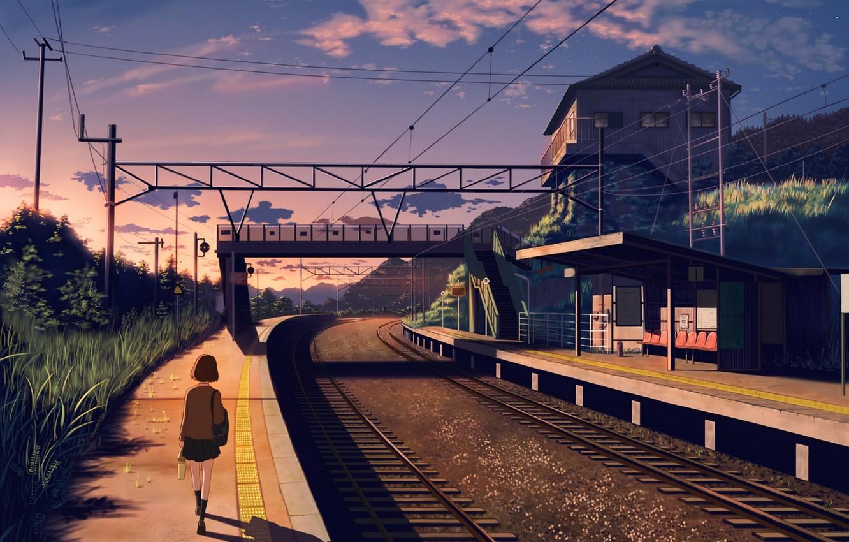 Photo wallpaper girl, sunset, nature, house, rails, anime, art, form, schoolgirl, nauimusuka