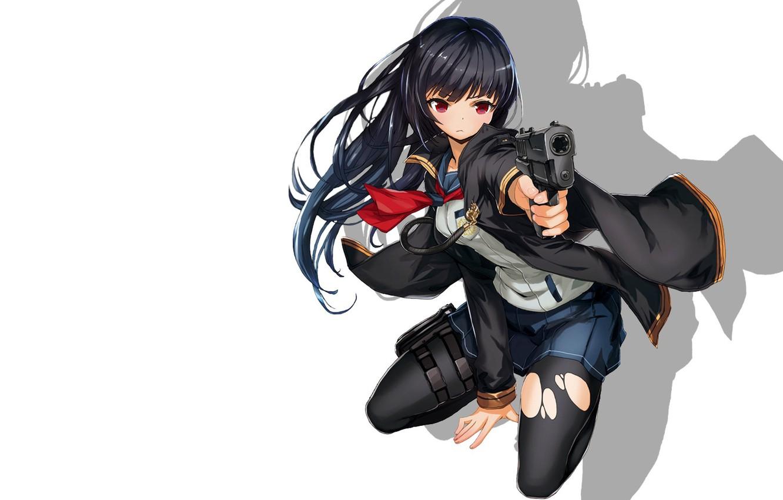 Photo wallpaper girl, gun, weapons, art, white background, sailor, saitom