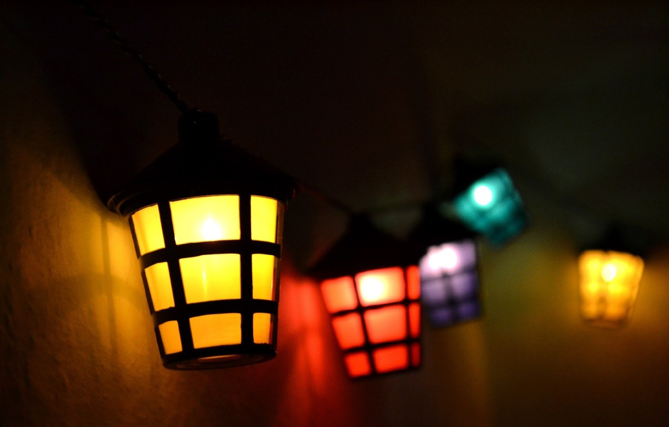 Photo wallpaper lights, colors, red, yellow, blue, purple, lamp