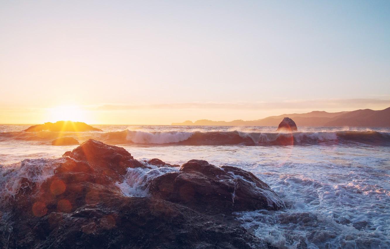 Photo wallpaper sea, wave, sunset