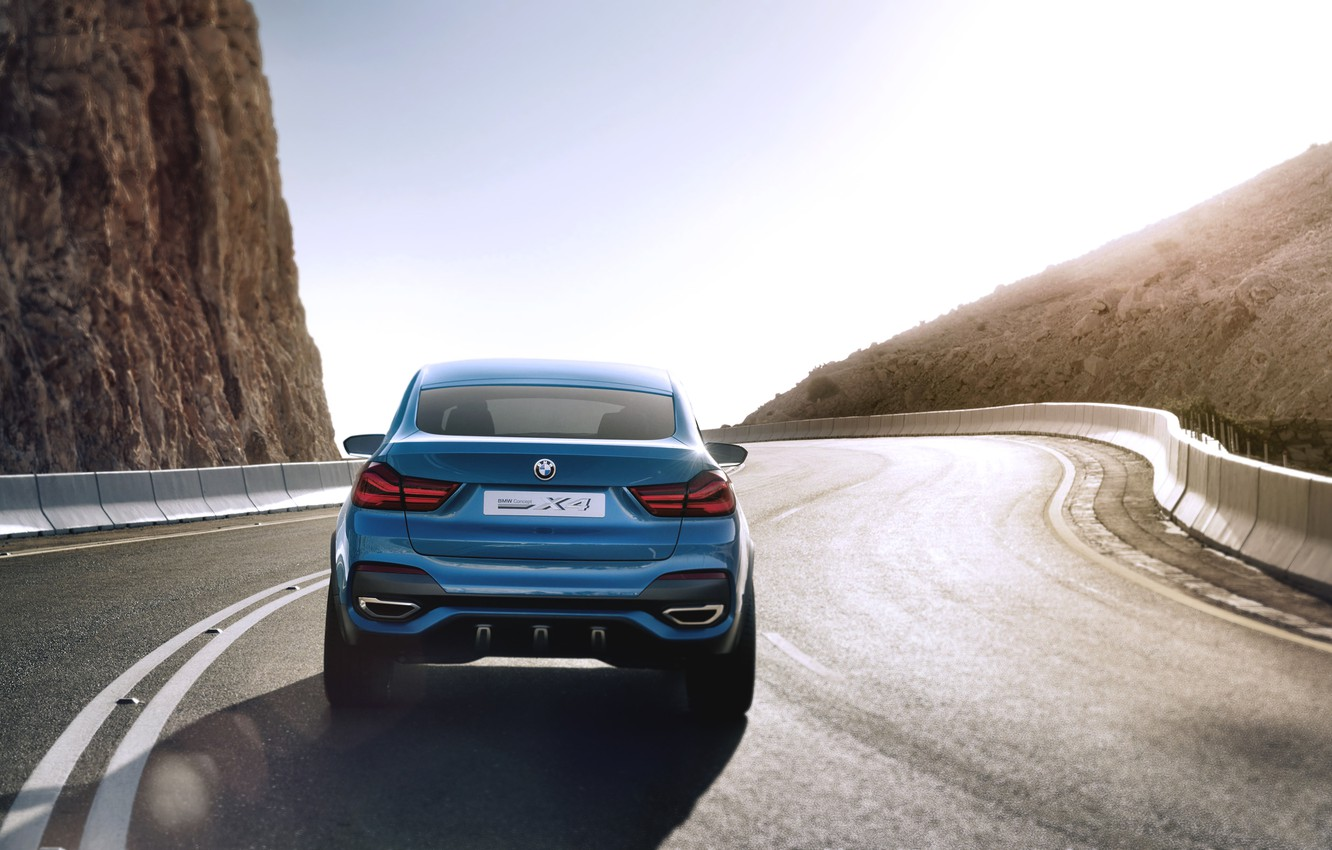 Photo wallpaper Concept, Auto, Blue, BMW, Boomer, The concept, Light, Asphalt, Day, Jeep, Car, Rear view, In …