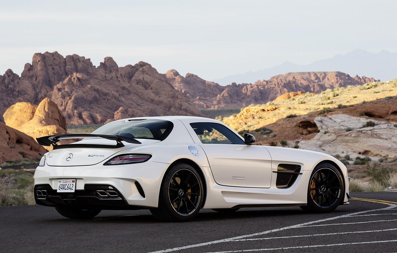 Photo wallpaper White, Machine, Mercedes, Car, Car, Mercedes Benz, AMG, SLS, White, Wallpapers, New, Beautiful, Black Series, …