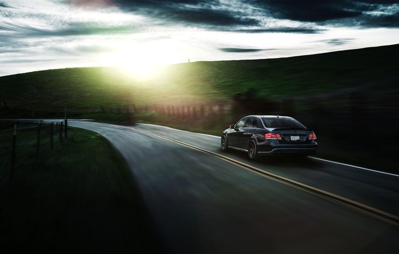 Photo wallpaper Mercedes-Benz, Nature, California, Motorsport, Summer, Sonic, E63, Rear, Ligth, Nigth, AMG S