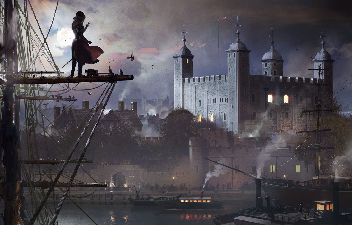 Photo wallpaper The sky, Water, Clouds, Girl, Smoke, Cathedral, The moon, Birds, Ship, Building, Art, Syndicate, Syndicate, …