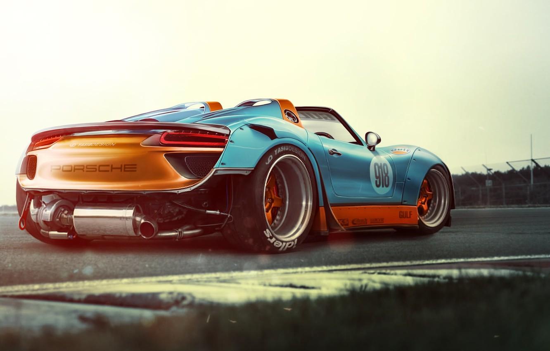 Photo wallpaper Porsche, Race, Power, Spyder, 918, Supercar, Track, Wide