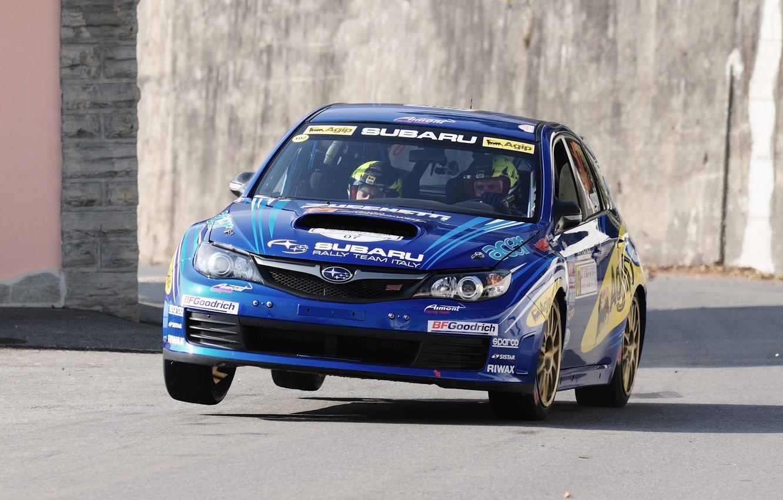 Photo wallpaper Road, Blue, The city, Subaru, Impreza, WRC, Subaru, Impreza, Rally, The front