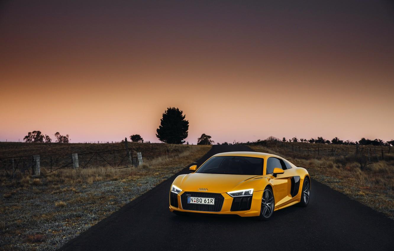 Photo wallpaper yellow, Audi, Audi, supercar, supercar, sky, yellow, V10