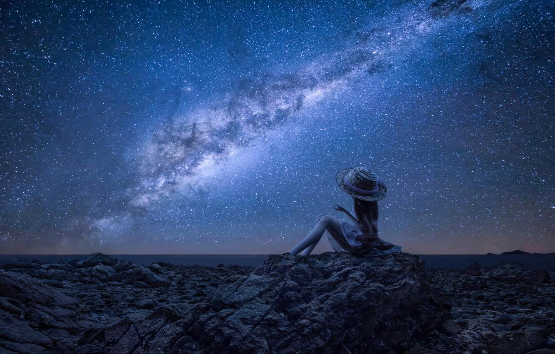 Photo wallpaper toy, stars, doll, the milky way, starry sky