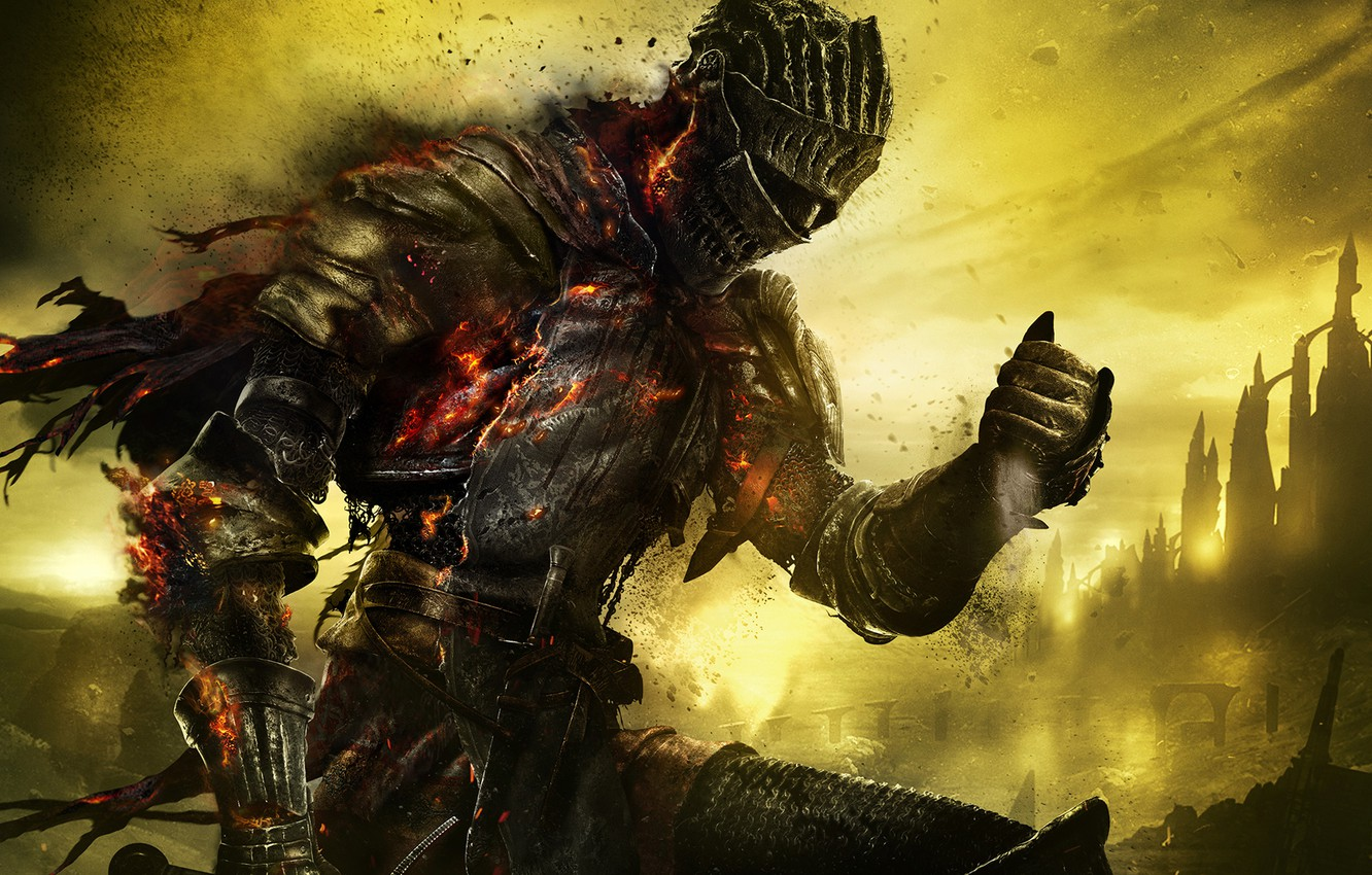 Photo wallpaper the sky, armor, warrior, knight, armor, holes, Namco Bandai Games, From Software, Dark Souls 3