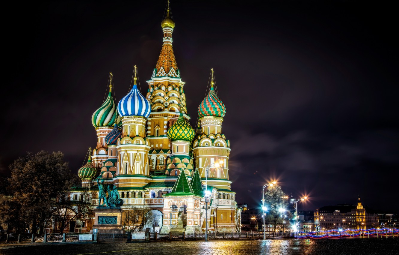 Photo wallpaper night, lights, lighting, Moscow, St. Basil's Cathedral, Moscow, Red Square, monument to Minin and Pozharsky