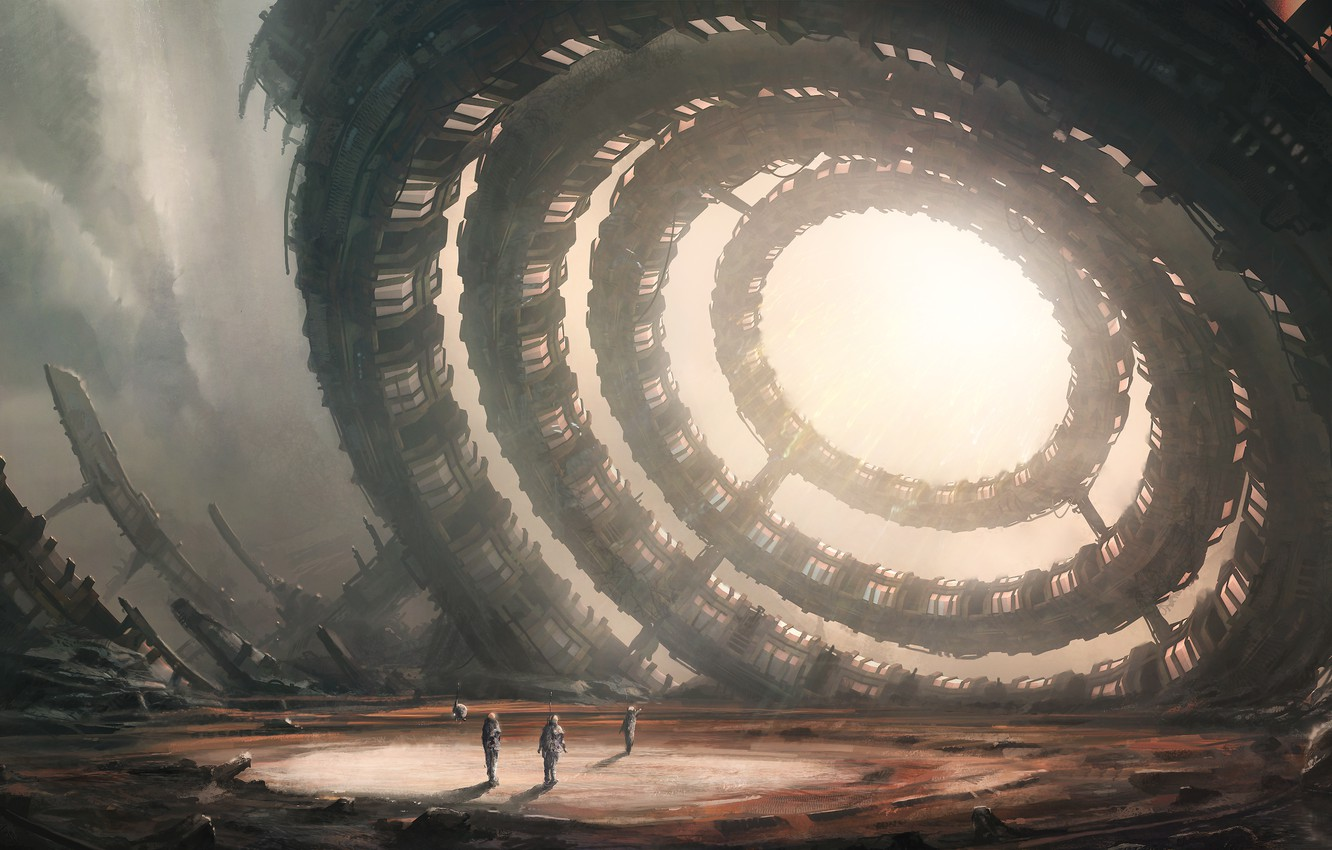 Photo wallpaper the wreckage, light, clouds, ring, art, ruins, sci-fi, suits, researchers, drone
