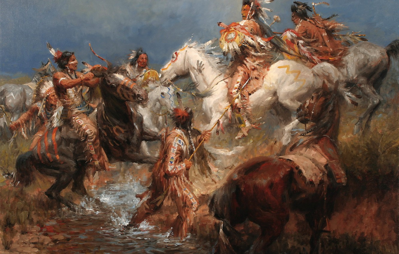Photo wallpaper picture, painting, painting, 1831, A Clash Between the Crow and the Sioux, Andy Thomas