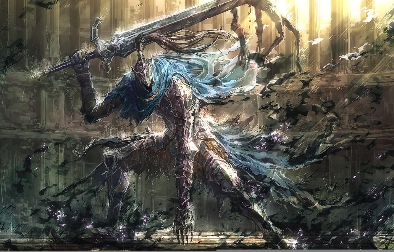 Photo wallpaper game, sword, art, armor, dark souls, upscale, knight artorias, knight arteries, artorias the abysswalker, the …