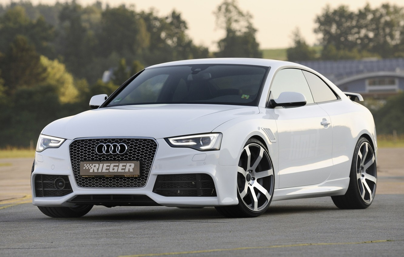 Photo wallpaper white, background, Audi, tuning, coupe, Audi, drives, Coupe, tuning, the front, S-Line, Rieger