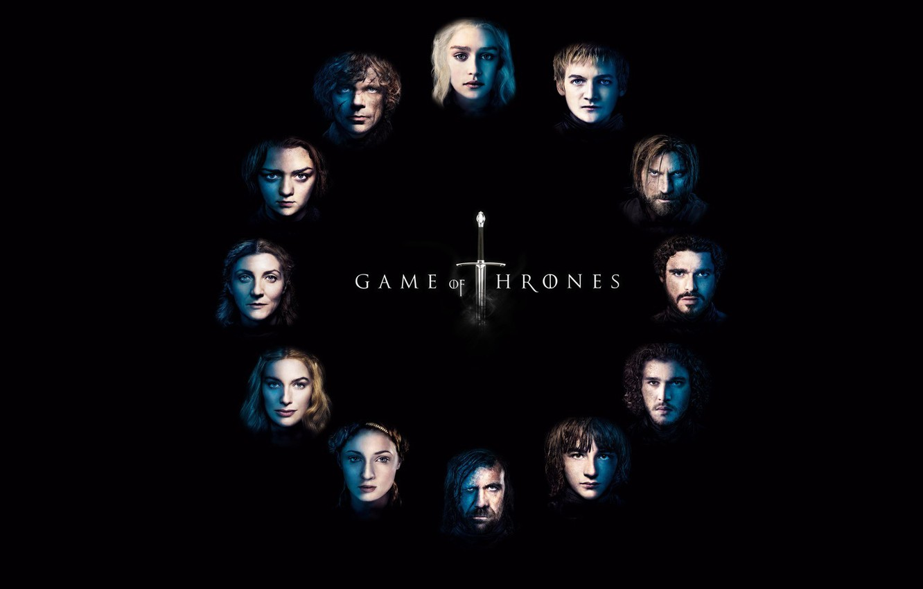 Photo wallpaper Logo, Series, Game of Thrones, Background, Characters, HBO