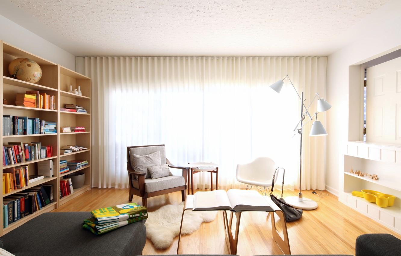 Photo wallpaper table, room, books, chair, album, shelves