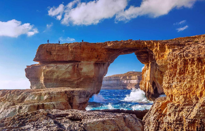 Photo wallpaper sea, people, rocks, island, Malta, Gozo, Gozo, Dwejra Beach