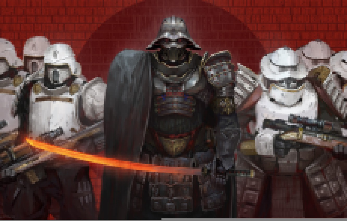Photo wallpaper figure, Star Wars, art, Darth Vader, Star wars, Darth Vader, Stormtroopers, Stormtroopers, Roberto Robert