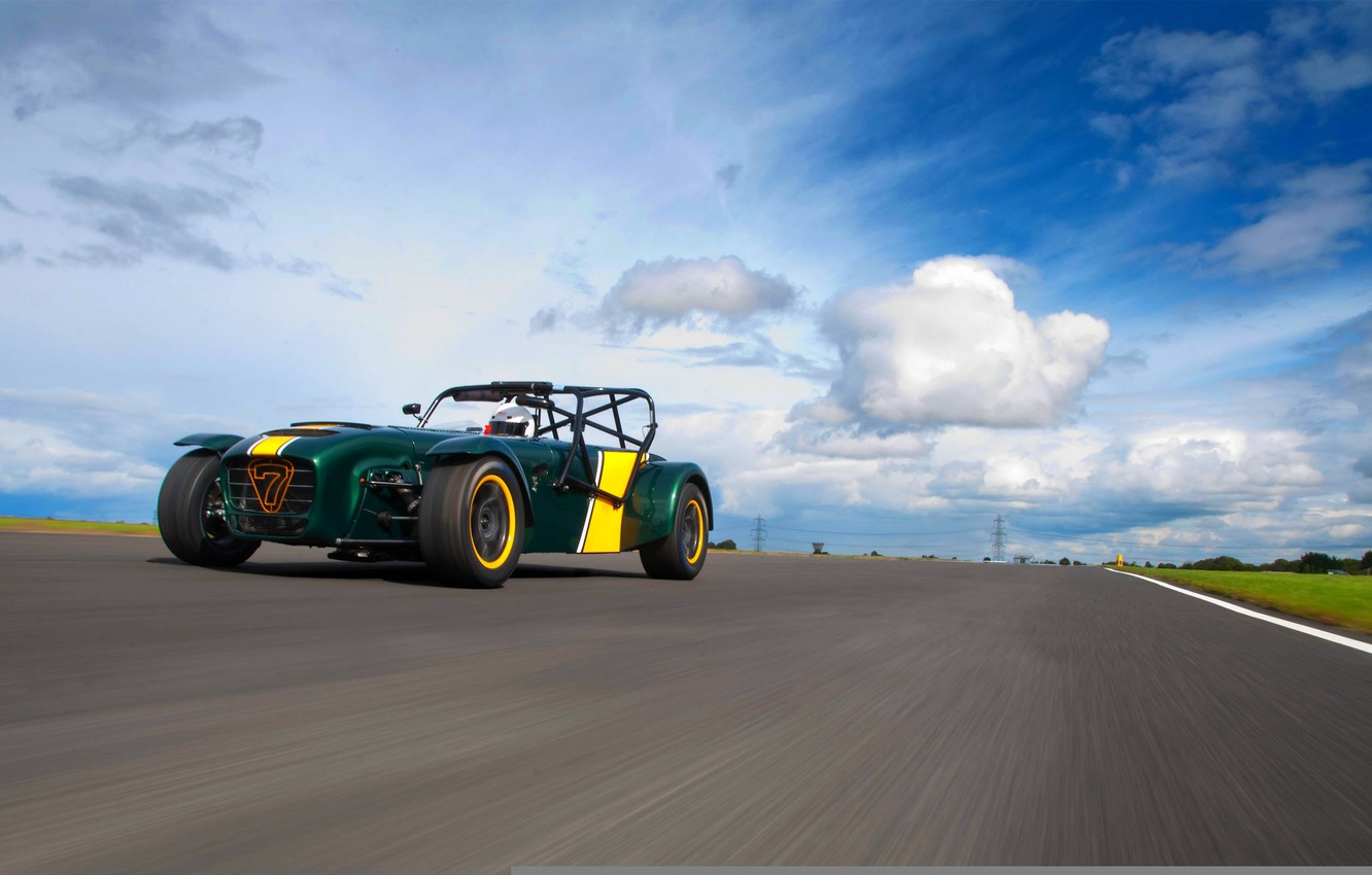 Photo wallpaper The sky, Clouds, Road, Caterham, The front, Superlight, R600