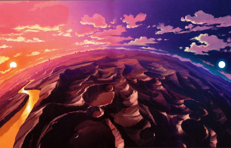 Photo wallpaper anime, color, planet