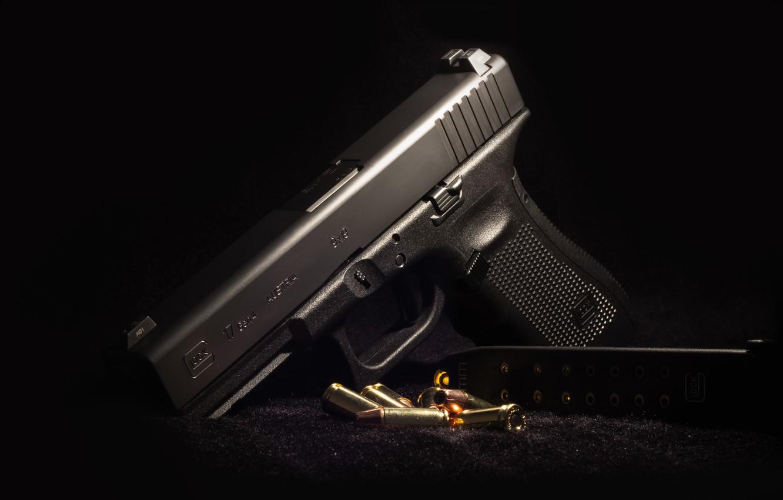 Photo wallpaper background, Austria, cartridges, Glock 17, self-loading pistol