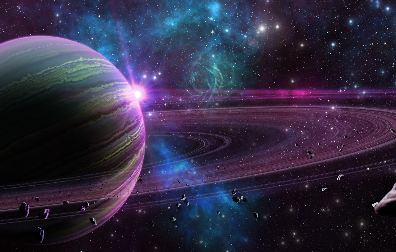 Photo wallpaper space, planet, ring, stars
